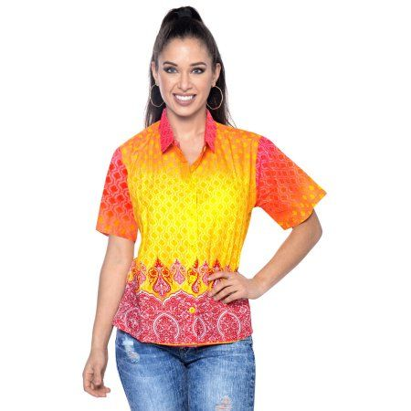 fc7264ec97c0 La Leela Womens Hawaiian Collar Shirts Short Sleeve Blouses Gifts Beach Swim  Ladies Dressy Tops And Tees Button Down Front Camp 100% Cotton Print Yellow  ...