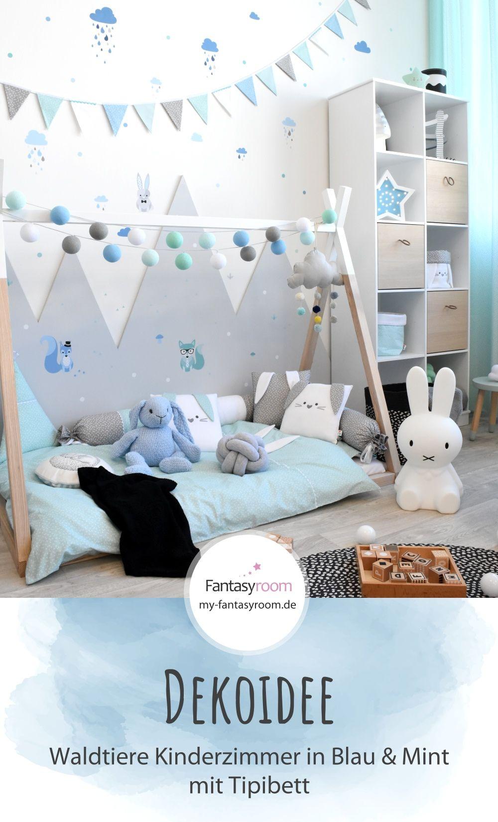 Kinderzimmer für Jungen mit Tipibett & Waldtieren
