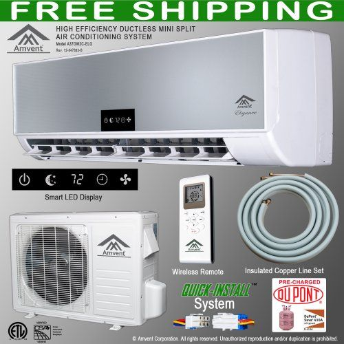 Amvent 12000 Btu 1 Ton Ductless Wall Mount Mini Split Room Air Conditioner Ac Conditioning Cooling System Unit