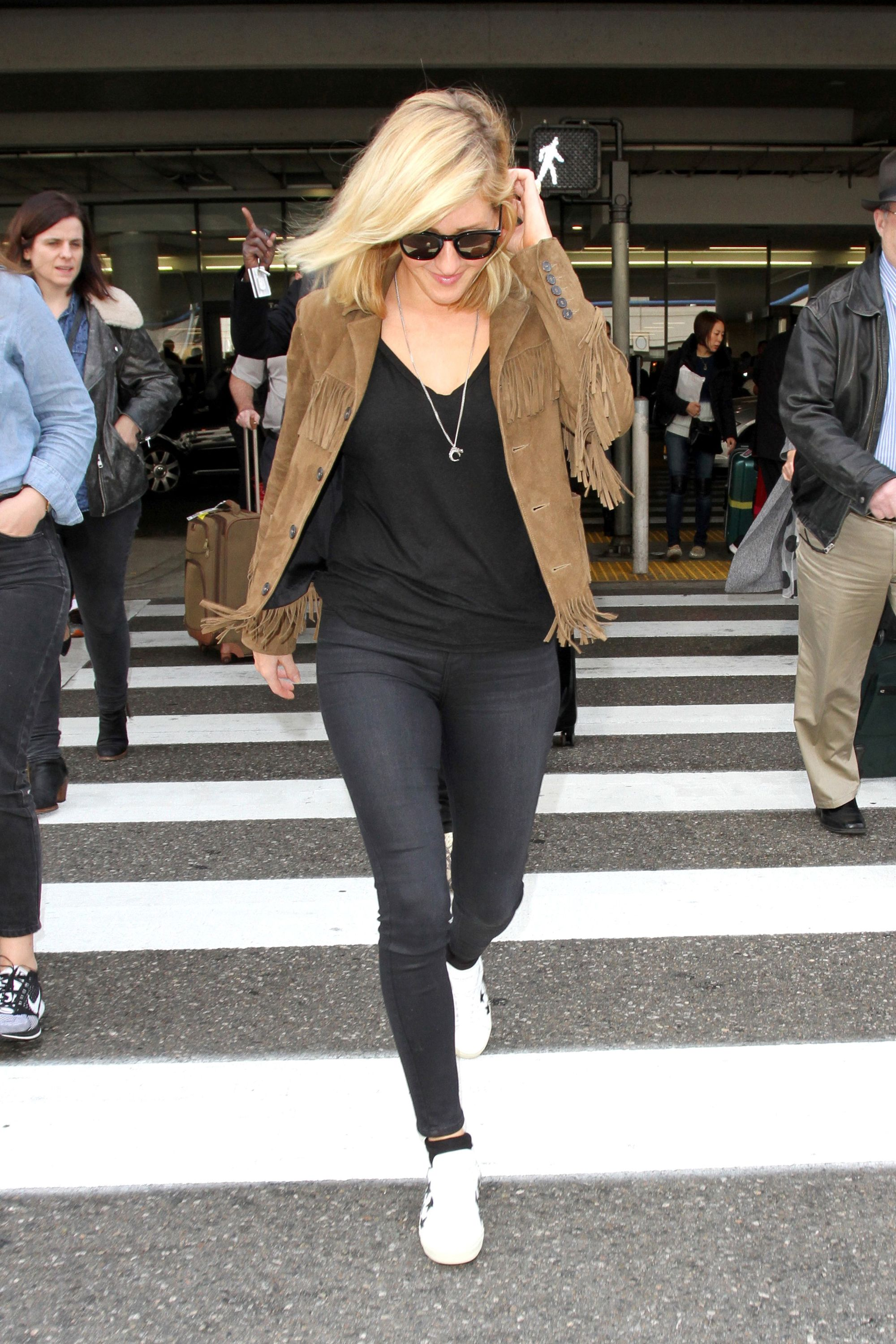 Ellie Goulding Tops Off Her Airport Look With Fringe