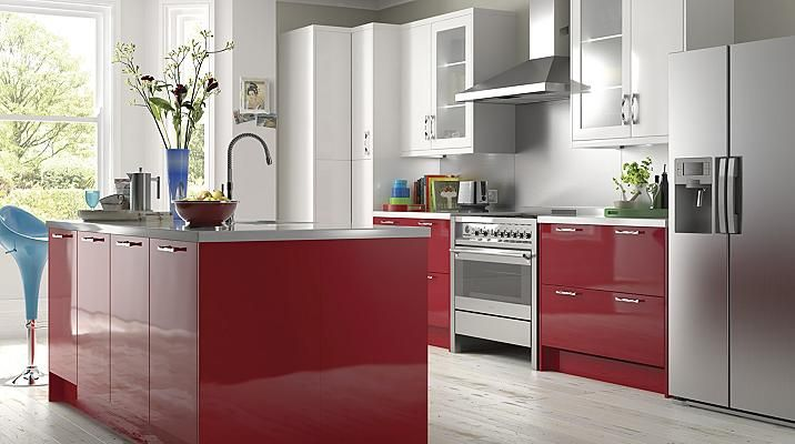 High Gloss Red Kitchen Cabinet Doors Fronts Kitchens Kitchen