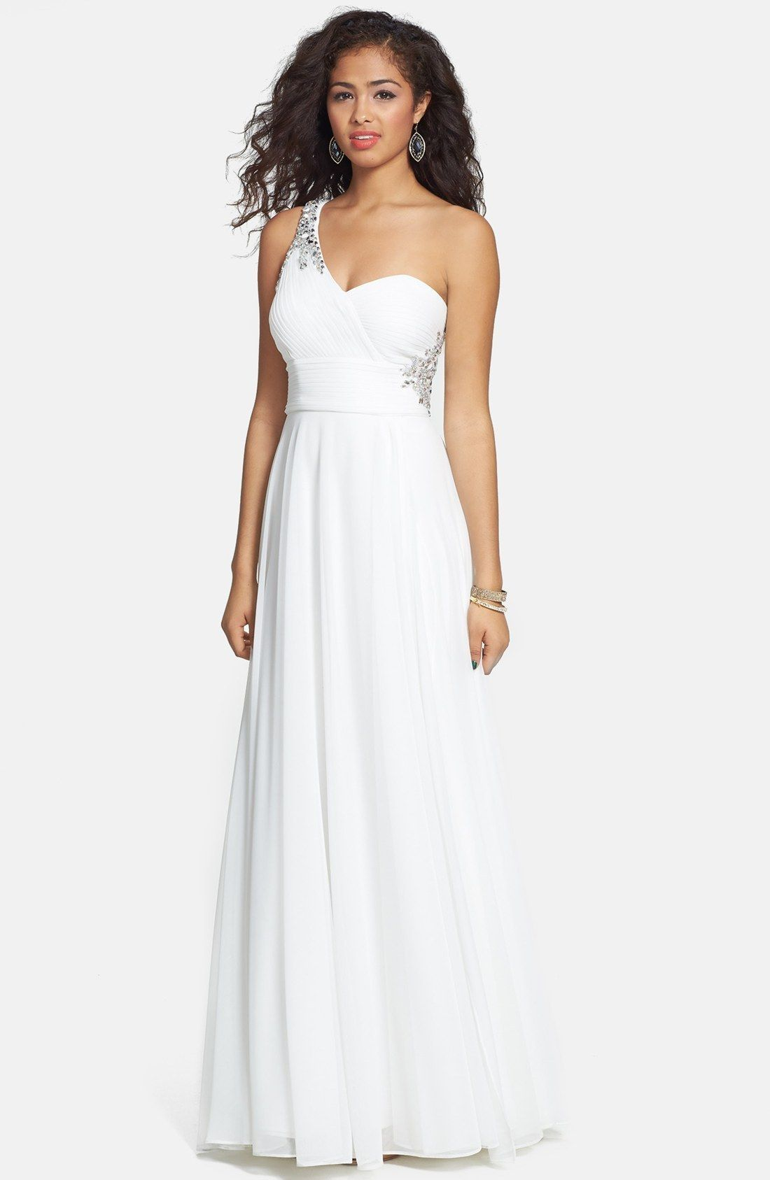 Embellished one shoulder jersey gown by xscape found on heartthis