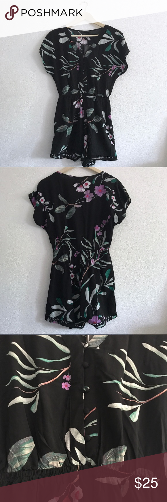 d3e44549131 Cotton On black floral romper jumpsuit Cotton On black floral romper  jumpsuit