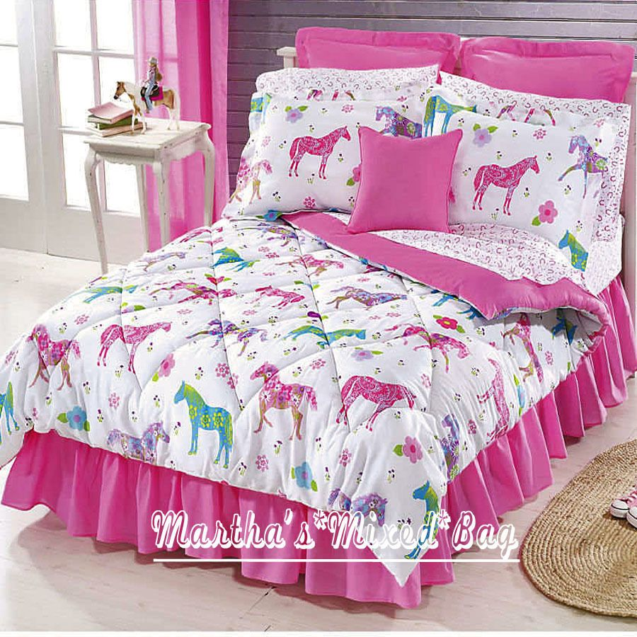 Girls PINK Equine WESTERN PONY HORSE Bedding T/F/Q Sizes