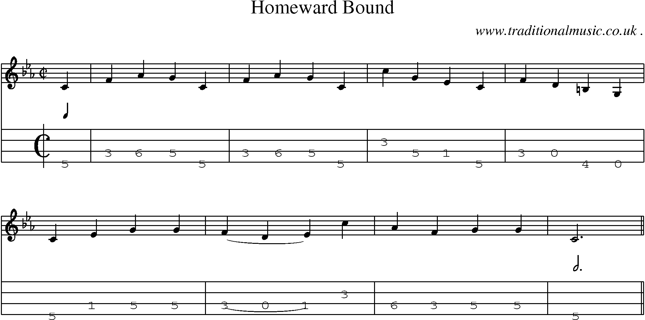 Sheet Music And Mandolin Tabs For Homeward Bound