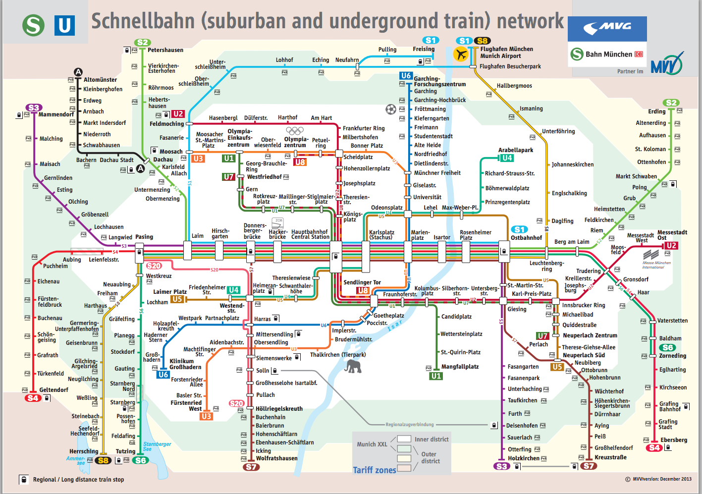 public transport in Munich all important routes on one map