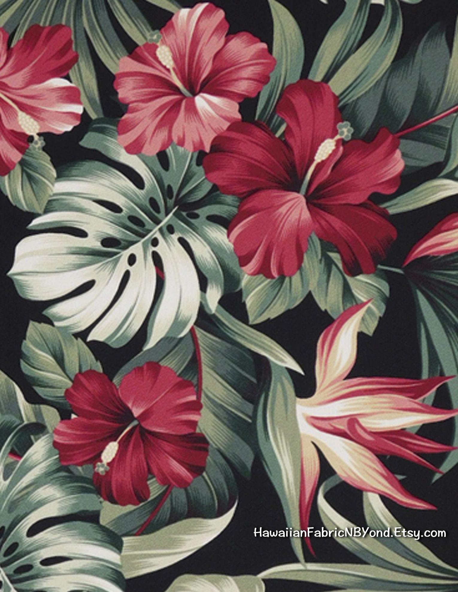 Fabric hawaiian upholstery red hibiscus bird of paradise and red hibiscus bird of paradise and monstera leaf for bedding izmirmasajfo Images