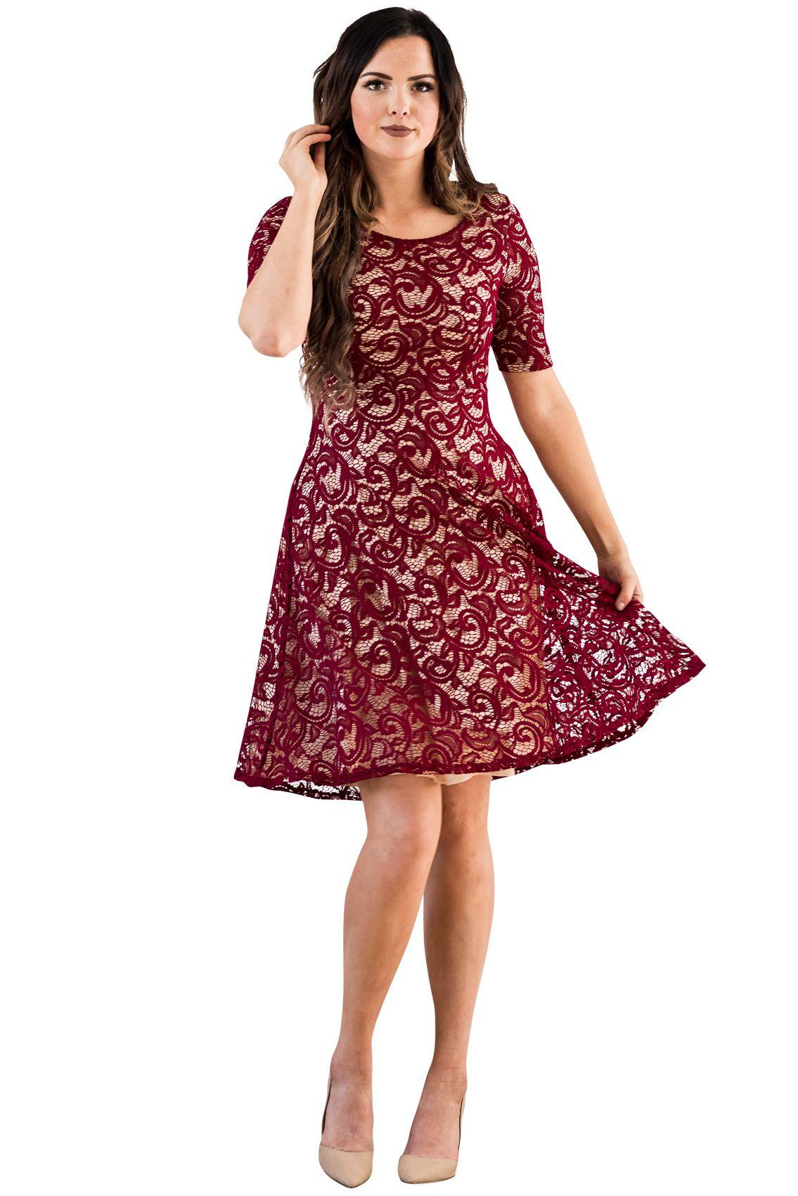 62686615b8570 Sloan Modest Bridesmaid Lace Dress in Burgundy w/Tan (Nude) Lining ...