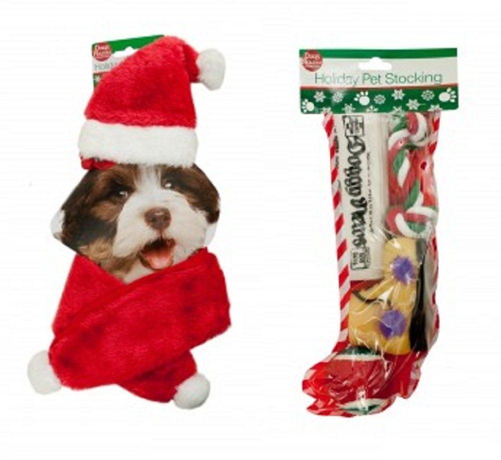 Dog Christmas Holiday Stocking Pet Toys Gift Set With Santa Hat