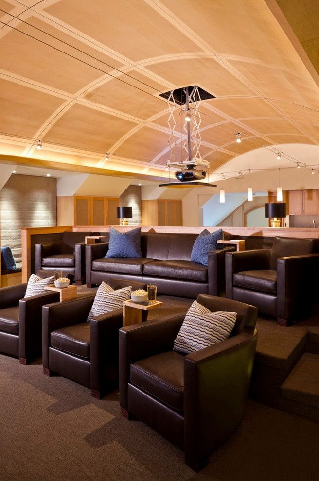 Home Theater Room Ideas Home Theater Contemporary With Barrel