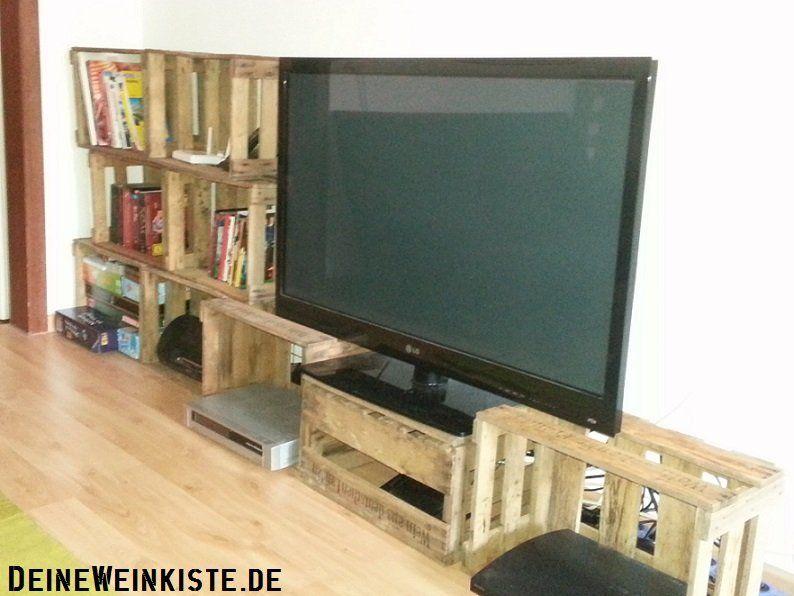Wohnwand industrial  Wohnwand aus Weinkisten (mit Anti-Holzwurm-Wärmebehandlung) | #02 ...