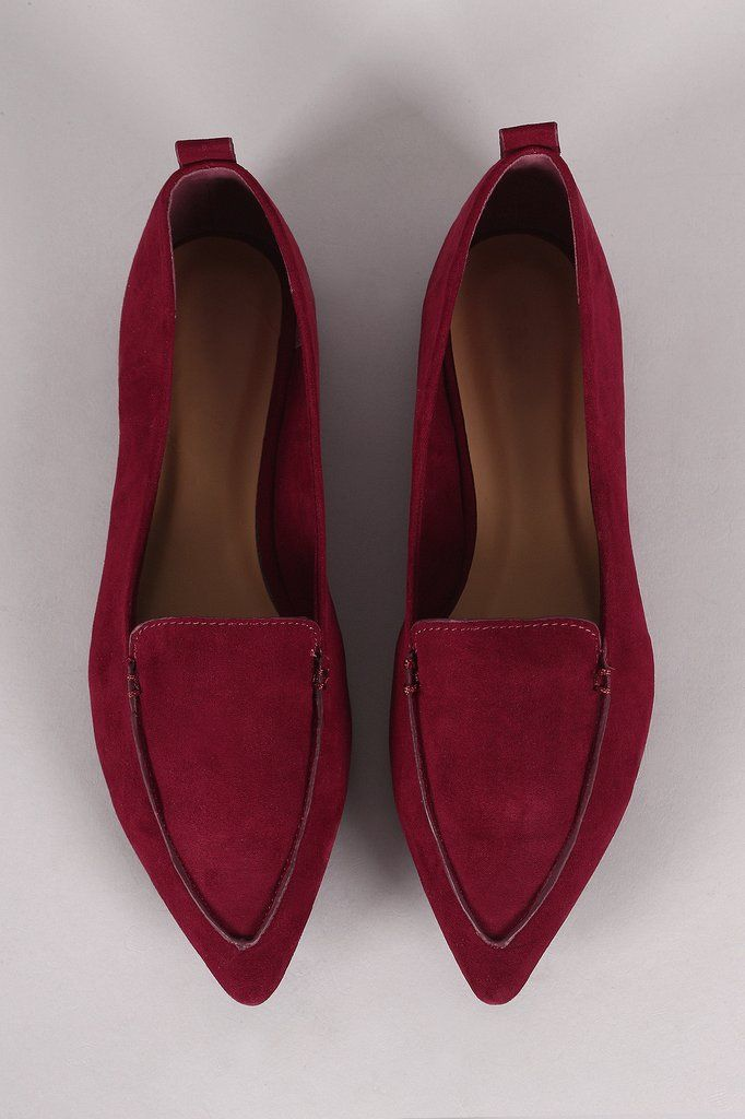 Bamboo Faux Suede Pointy Toe Moccasin Flats