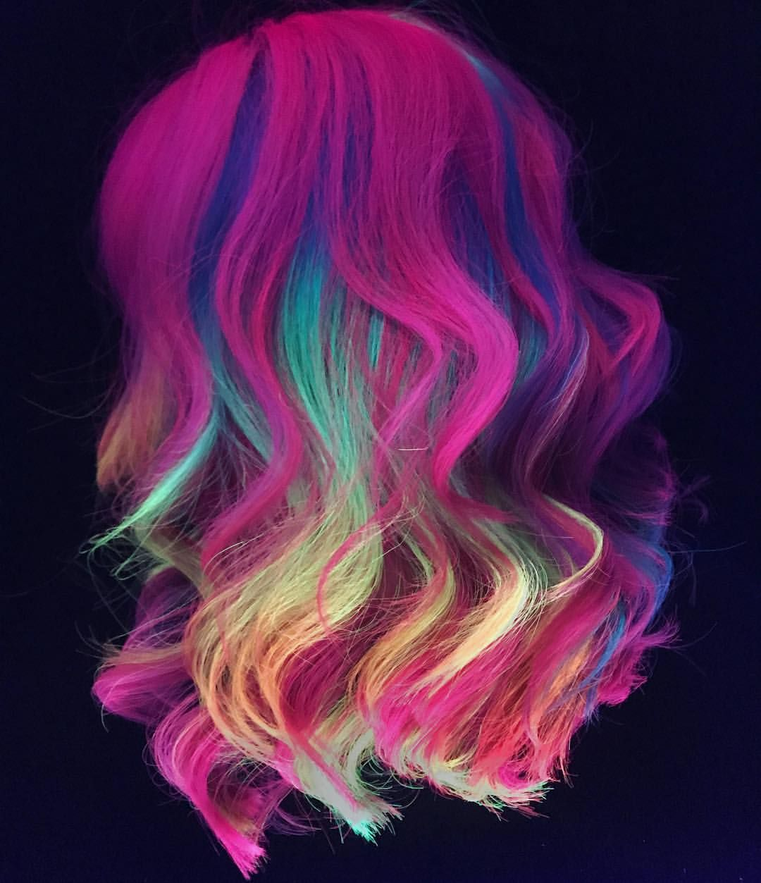 Black Lit Because I M Obsessed With These Blacklight Shots Kenraprofessional Neons Btconeshot Vibrant18 Neon Hair Vivid Hair Color Neon Hair Color