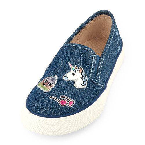 455c6e43b40ac Girls Patched Sparkle Denim Slip-On Rockstar Sneaker - The Children's Place