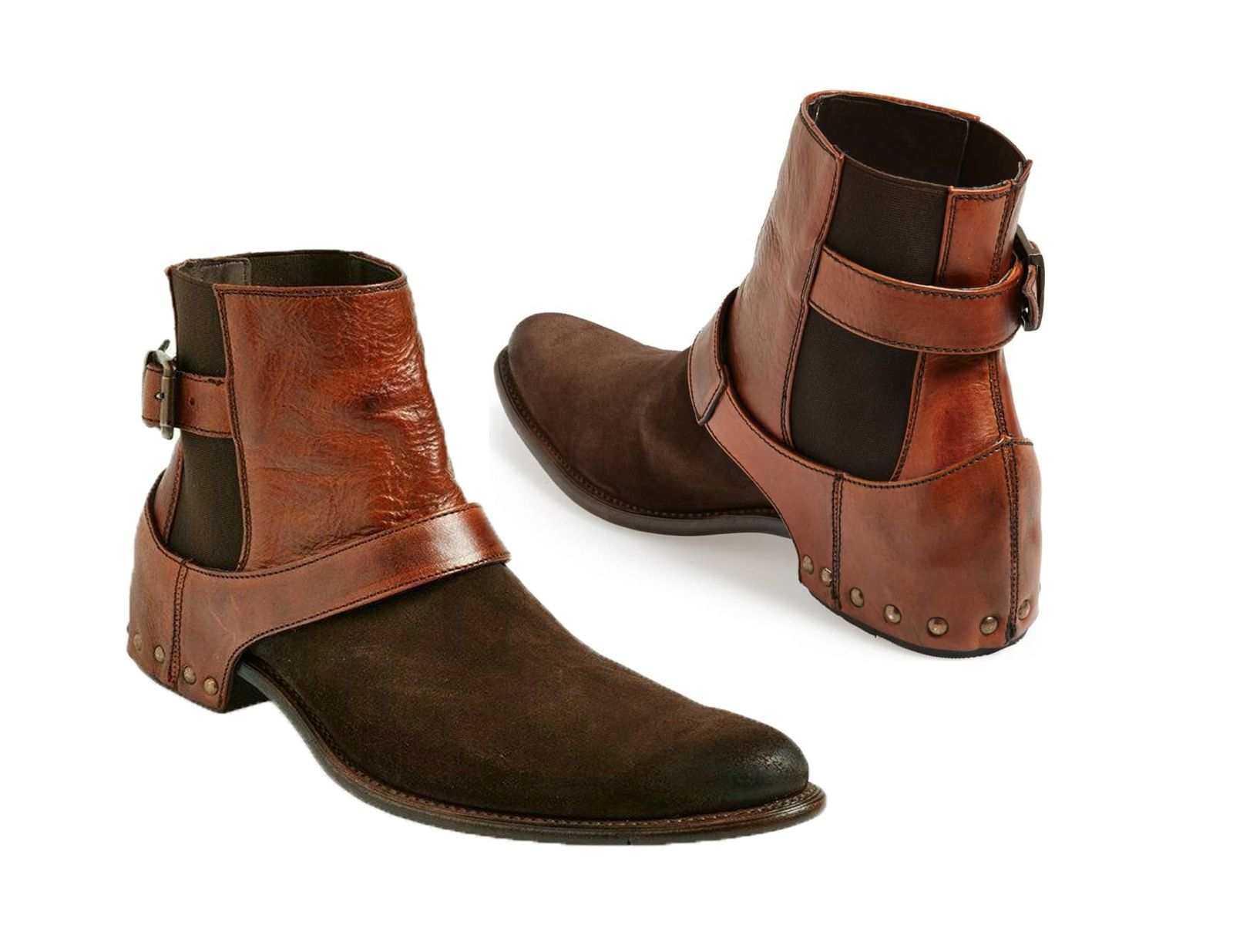 18f31bb660d New Handmade men brown suede nad leather chelsea boot