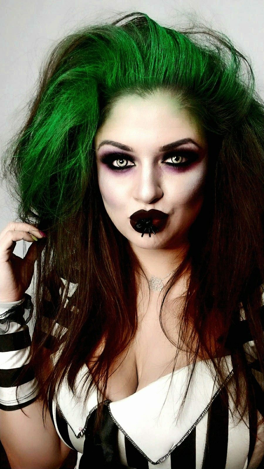 Beetlejuice Eily311 Halloween Makeup Hair Timburton Beetlejuice Makeup Girl Halloween Makeup Beetlejuice Halloween