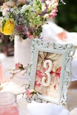 And It Would Look Super Cute Vintagey I Like This Idea But With Gold Frame For Table Numbers