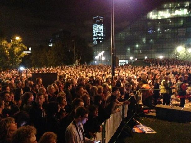 Masses: The crowd at the event whooped and cheered for the Labour leader