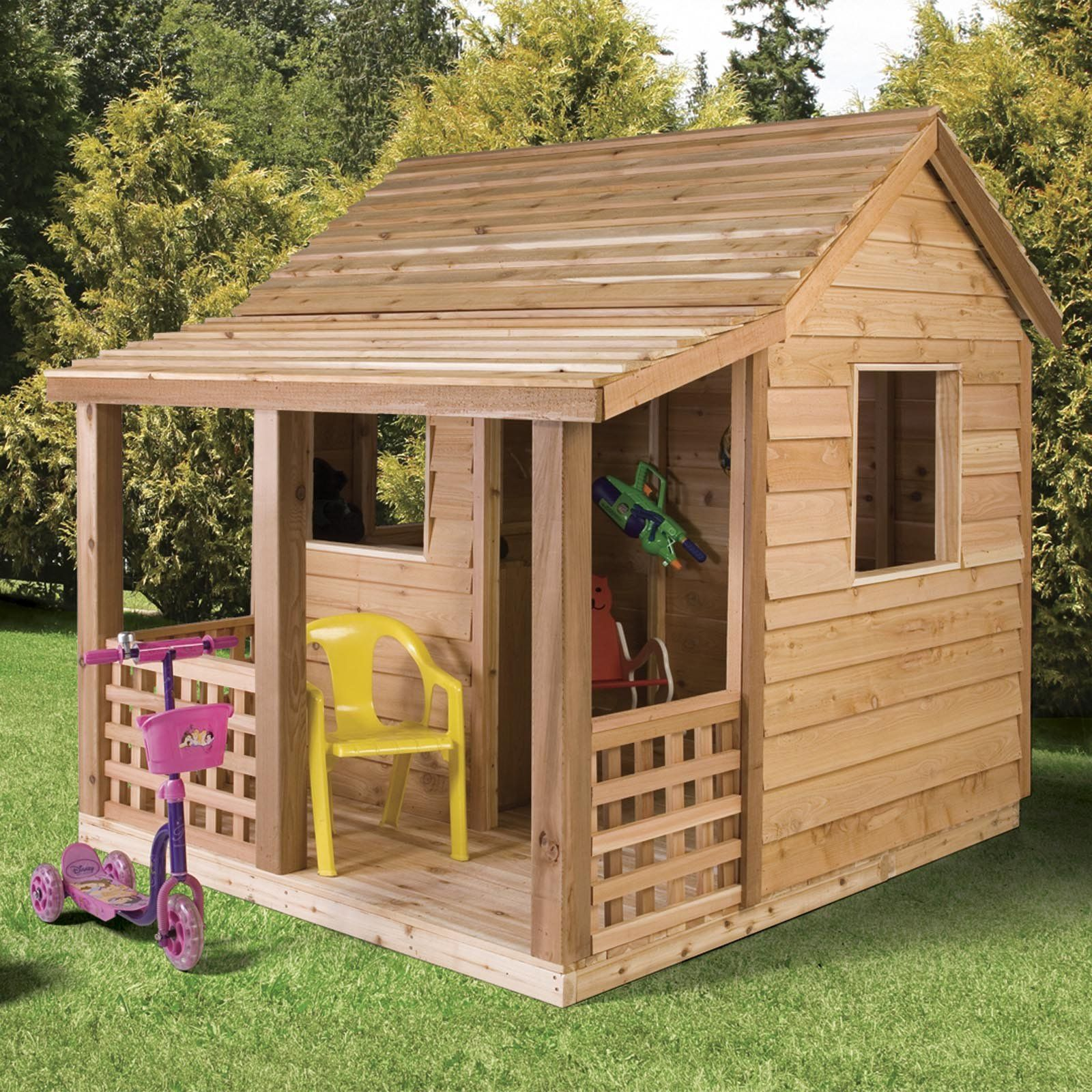 Cedar shed cabin cedar playhouse with classic slat style for Kids outdoor playhouse