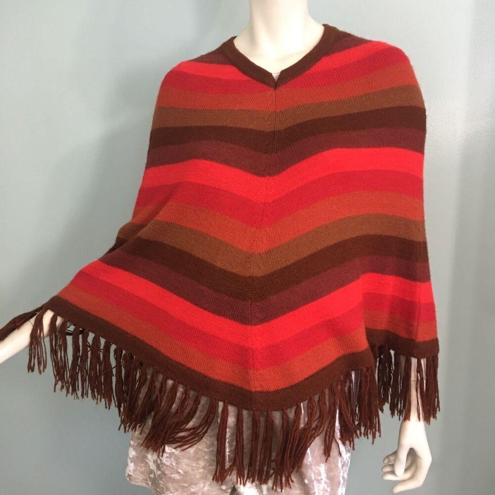 Novica Womens Red Striped Poncho One Size Cloak Alpaca