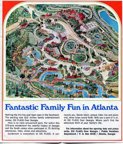 Six Flags Over Georgia 1967 01 Brochure B Theme Park Map Six Flags Flag
