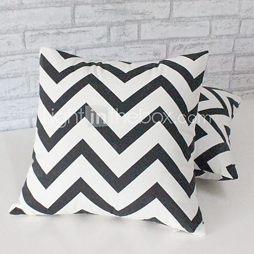 Set of 2  Modern Style High Quality Waves Printing  Pillow Cover (16*16 inch) - USD $11.99