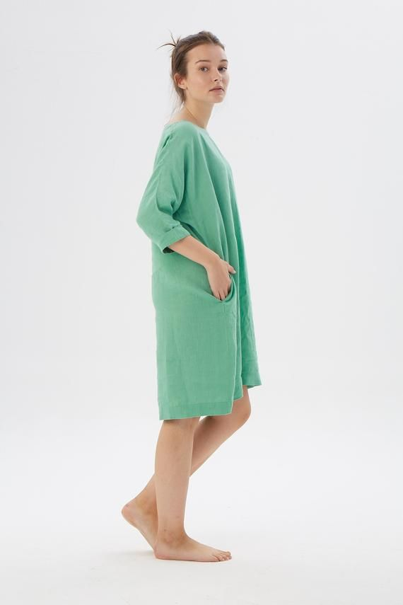 Linen tunic dress with long sleeves FLORIDA / Washed linen tunic / available in 20 colors #linentunic
