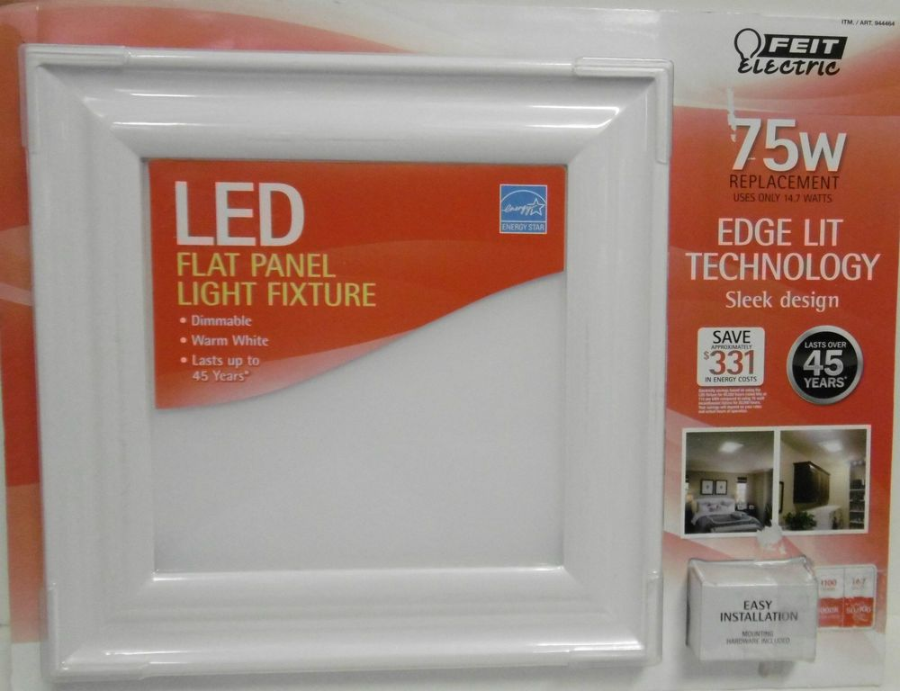Feit Electric Led Flat Panel Flush Mount White Trim Light Fixture 75w Dimmable