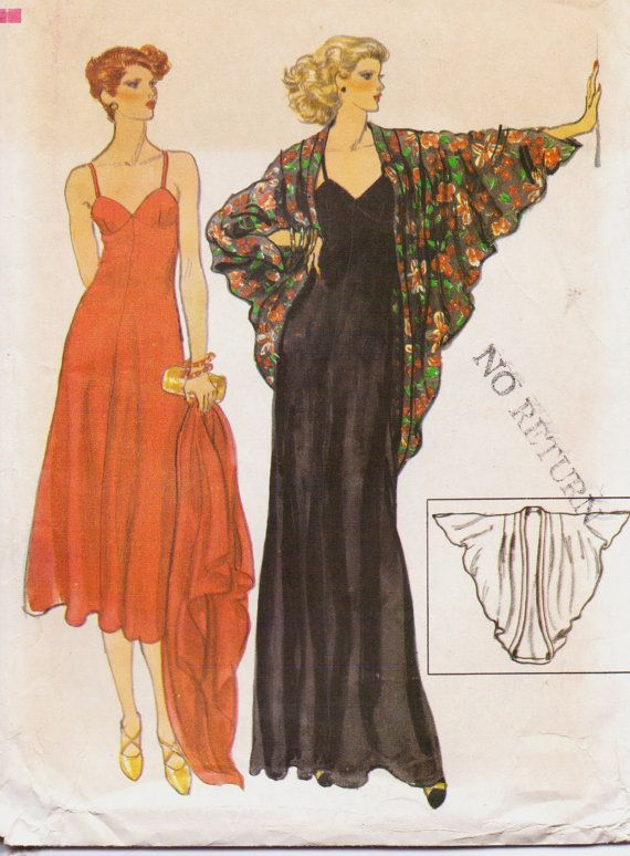 Vintage 70s Vogue Sewing Pattern 9905 Womens Spaghetti Strap Evening ...