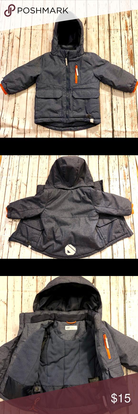 Boy's H&M Weather Resistant Winter Coat Sz 1.52T Boy's H