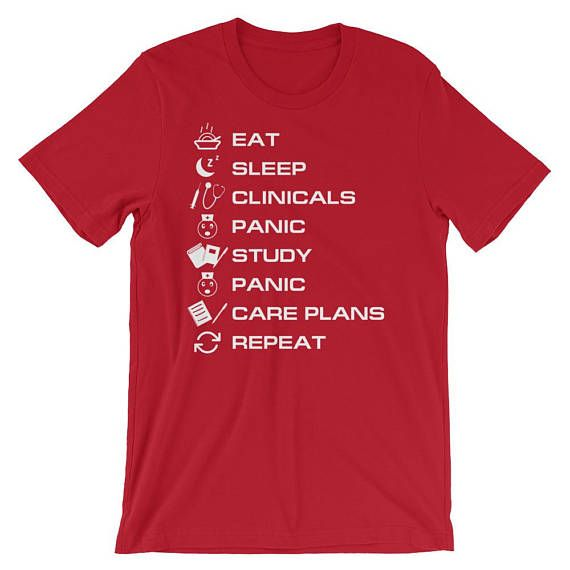 6c4b817e Nursing Funny Graphic Tee Shirt Design For Women And Men With funny nursing  student graduation gift idea Hilarious Saying eat sleep clinics panic study  ...