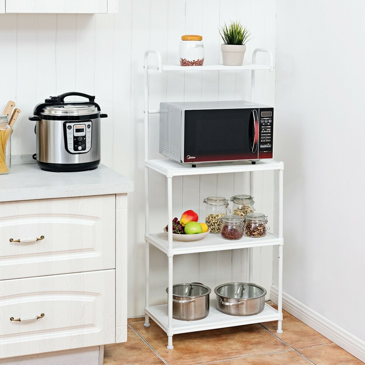 4 Tier Kitchen Storage Baker Microwave Oven Rack Shelves With