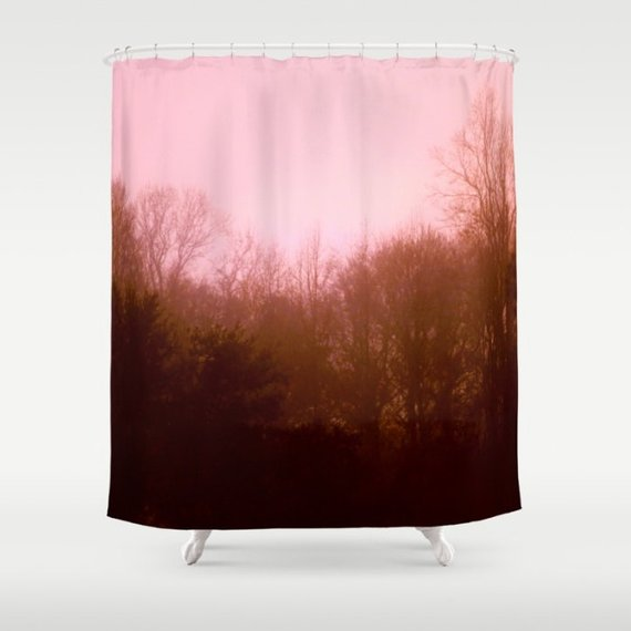 Nature Shower Curtain Tree Pink And Brown Bat