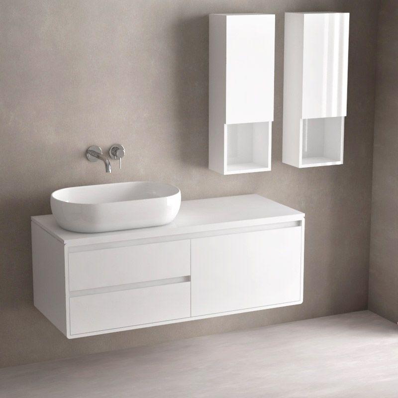 Ensemble Meuble Suspendu Et Vasque 120 Cm Deux Demi Colonnes Blanc Max Bathroom Salledebain Homedecor Meuble Suspendu Meuble Vasque Meuble Sous Lavabo
