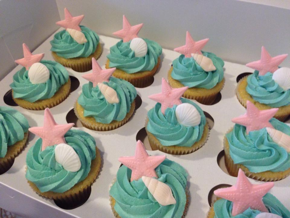 Bridal Shower Beach Themed Cupcakes My Creations Pinterest