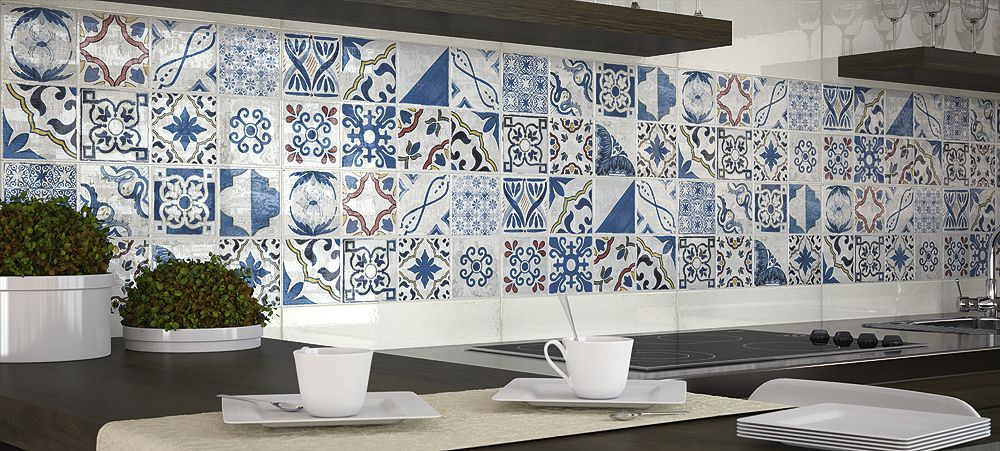 faience murale bleue style anciens carreaux l 39 ancienne decor antic 25x50 cm faience. Black Bedroom Furniture Sets. Home Design Ideas