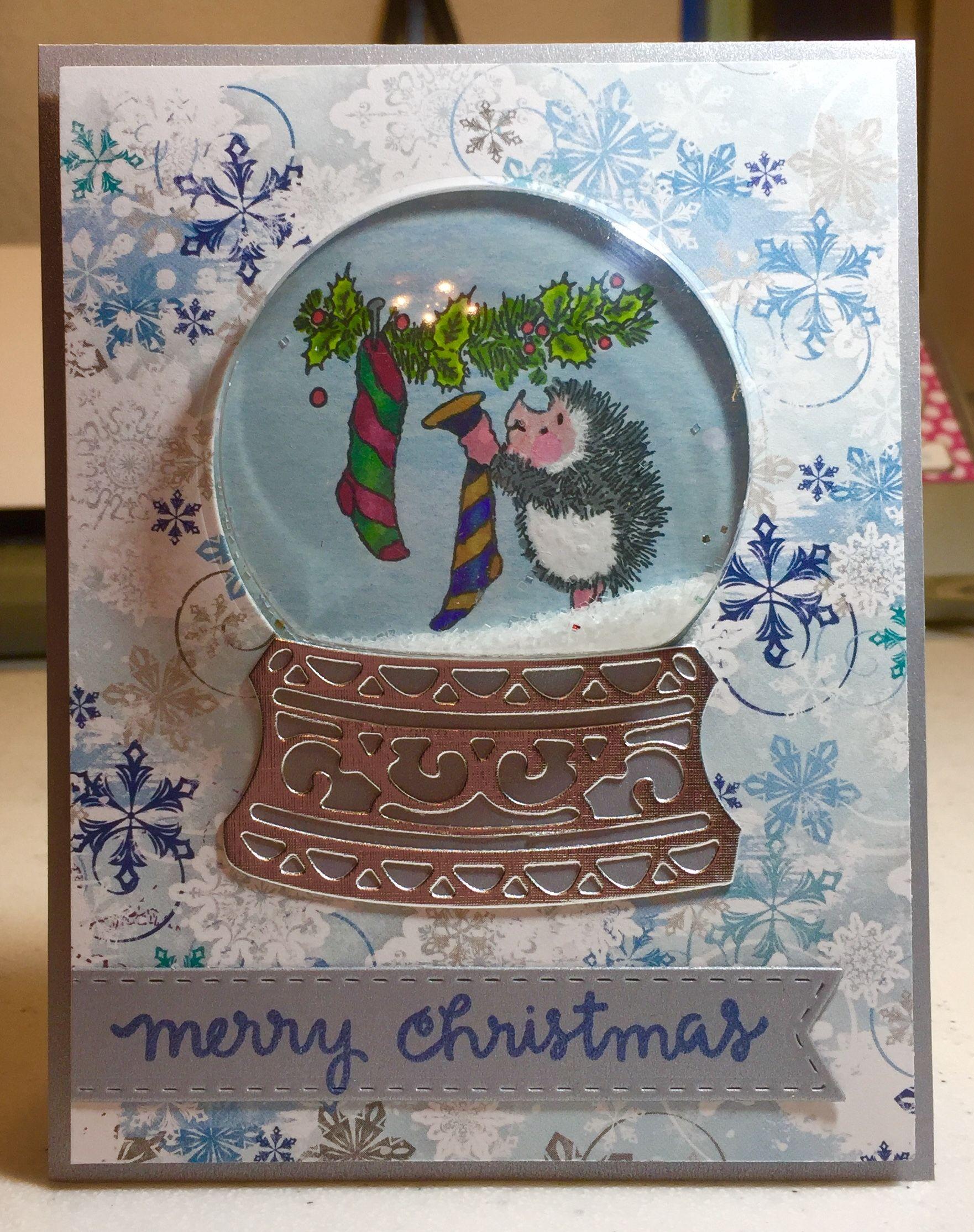 Hedgehog Snow Globe Christmas Card (With images) Card