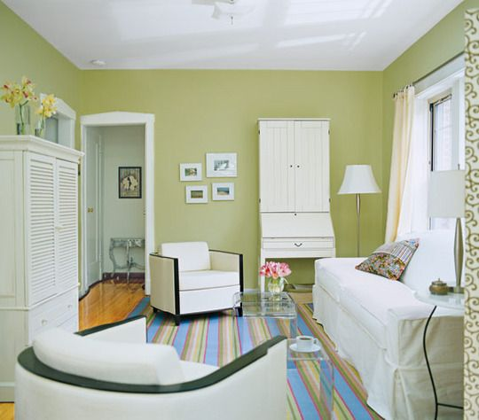 Paint Color Portfolio: Green Living Rooms