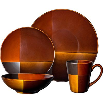 Gibson Convergence dinnerware set including 4 dinner plates 4 dessert plates 4 soup/salad bowls 4 mugs with lids Dark brown and Orange Stoneware Dinner ...  sc 1 st  Pinterest & I love the plates... not the bowl so much... and the mug? not at all ...