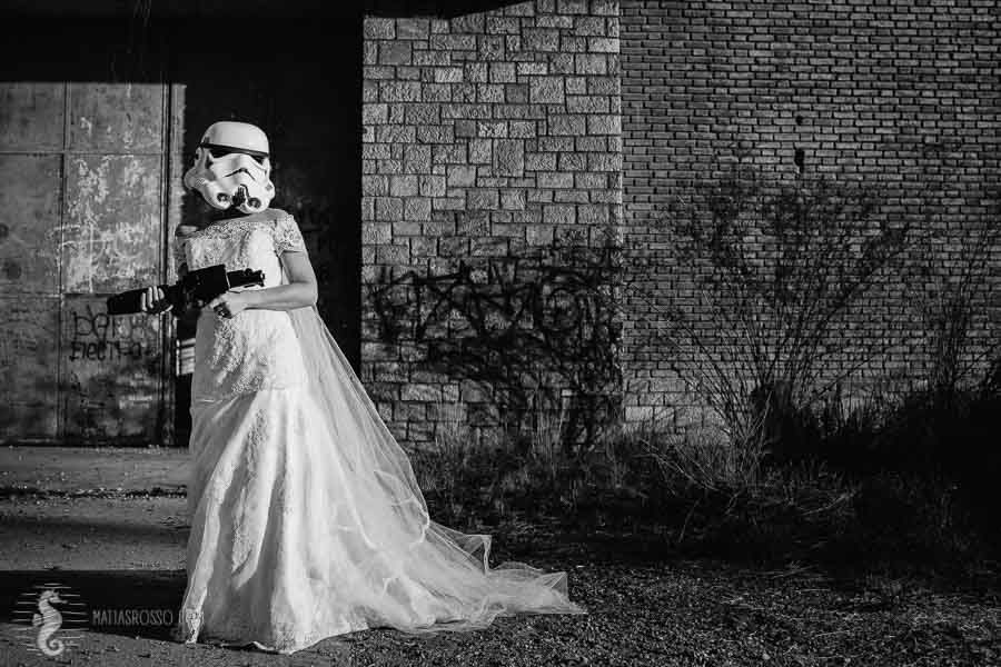 fotos sesi—on de novia -fotos post boda - original tras the dress- maquillaje para novias en mendoza - star wars wedding