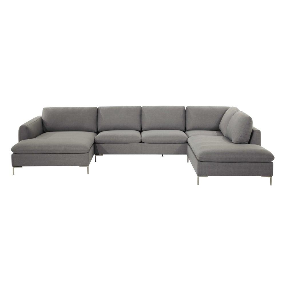 Canapé d'angle 7 places en tissu gris clair   Furniture