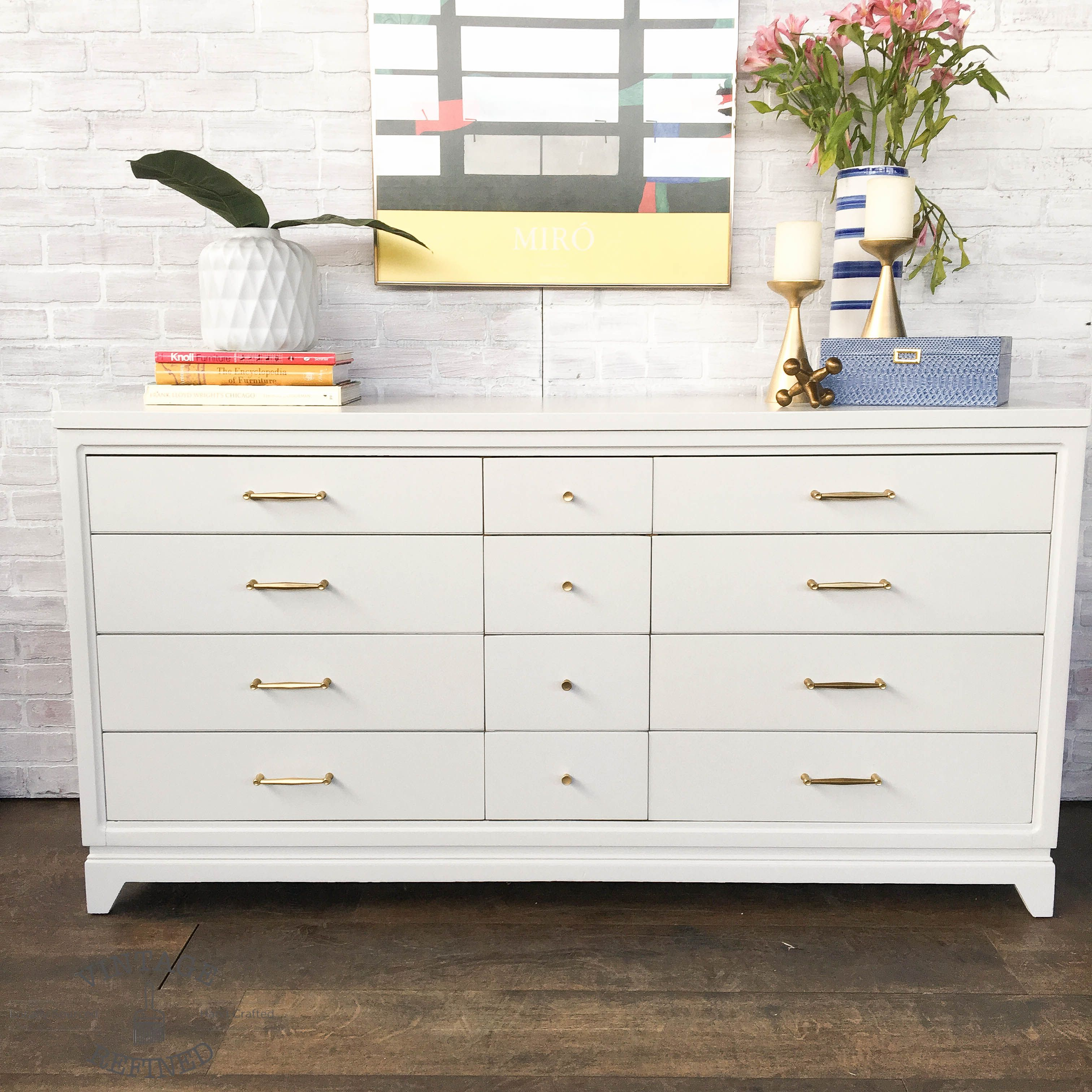 White Painted Mcm Dresser With Gold Hardware