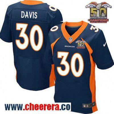 Men's Denver Broncos #30 Terrell Davis Navy Blue 2016 Super Bowl 50th Championship Patch Stitched NFL Nike Elite Jersey