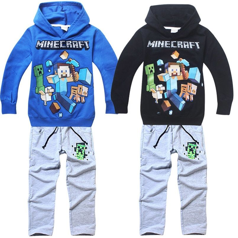 Roblox Black Winter Coat Pants 2 Pack Baby Boy Girl Child Minecraft Clothes Set Long Sleeve Hooded Roblox Jacket Pants Set 6 14y In Clothing Minecraft Outfits Sports Tracksuits Kids Outfits