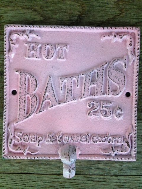 BOLD powder PINK towel hook // vintage inspired // cottage chic // wall hook // cast iron decor // shabby CHIC. $15.00, via Etsy.