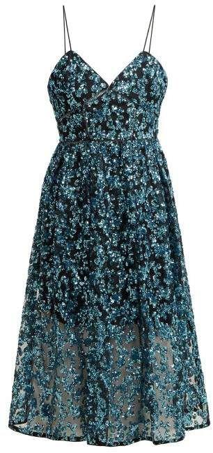 c831fe4f99ac Self-Portrait Self Portrait Azaelea Sequinned Midi Dress - Womens - Blue