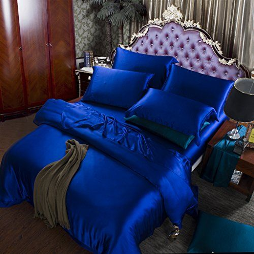 Orifashion Limited Edition 7piece 100 Silk Graceful Royal Blue Solid Color Bedding Set Californ Blue Bedroom Decor Blue Comforter Sets Room Inspiration Bedroom