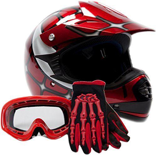 Youth Offroad Gear Combo Helmet Gloves Goggles Dot Motocross Atv Dirt Bike Mx Spiderman Red Smallmore Reviews Bike Com Youth Atv Helmet Kids Motorcycle