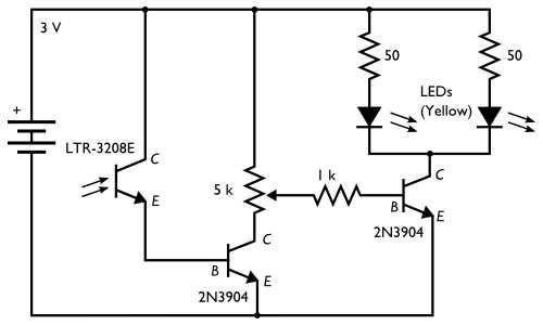 phototransistor dark detector circuit