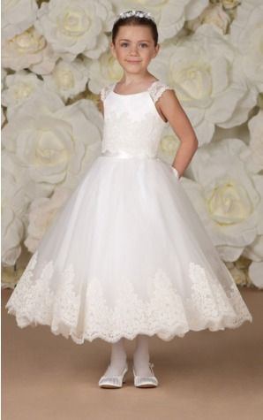 74c5d39daf2 Tulle Jewel Natural Tea-length Ball Gown Flower Girl
